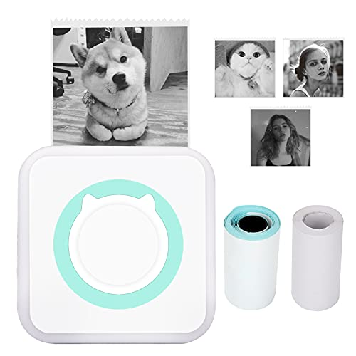 Mini Pocket Printer, Globalstore Wireless Inkless Pocket Printer, Mini Label Printer with Self-Adhesive Thermal Paper, Portable Thermal Photo Memo Note Printer for iOS, Android Smartphone (Green)