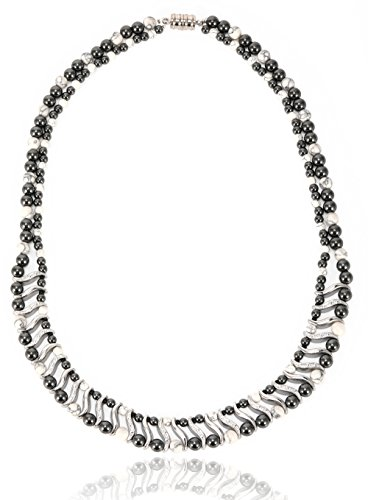 Elegant Womens Hematite Magnetic Therapy Necklace with Healing Stones Pain Relief for Neck Arthritis Migraine Headaches Shoulders and Back (Regular, White Howlite)