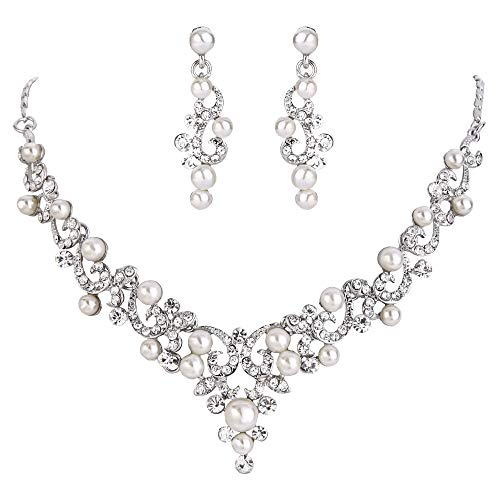 BriLove Wedding Bridal Simulated Pearl Necklace Earrings Jewelry Set for Women Filigree Vine Y-Necklace Dangle Earrings Set Clear Silver-Tone