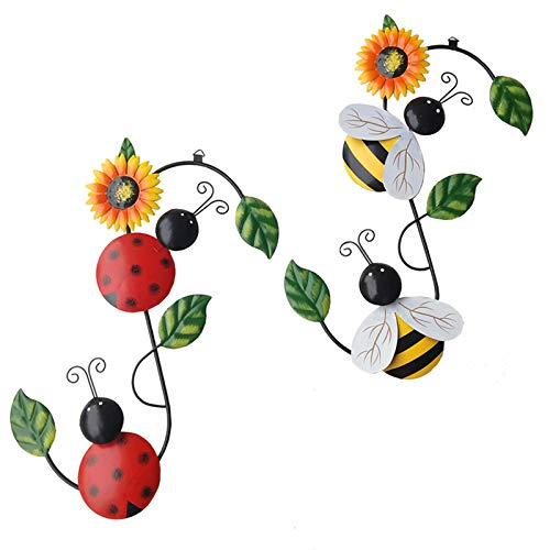 Set of 2 Metal Bumble Bee and Ladybug Wall Decor Outdoor Wall Art, Metal Wall Art Outdoor Wall Decor, Metal Wall Sculptures for Home Garden Patio Yard Fence Porch Tree(Yellow&Red)
