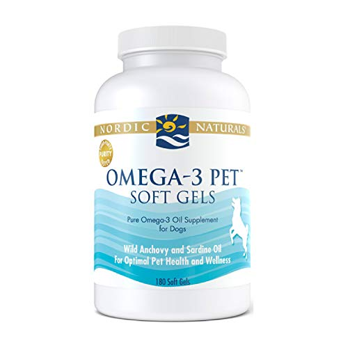 Nordic Naturals Omega-3 Pet  Unflavored - 330 mg Omega-3 Per Soft Gel - 180 Soft Gels - Fish Oil for Dogs with EPA & DHA - Promotes Heart  Skin  Coat  Joint  & Immune Health - Non-GMO