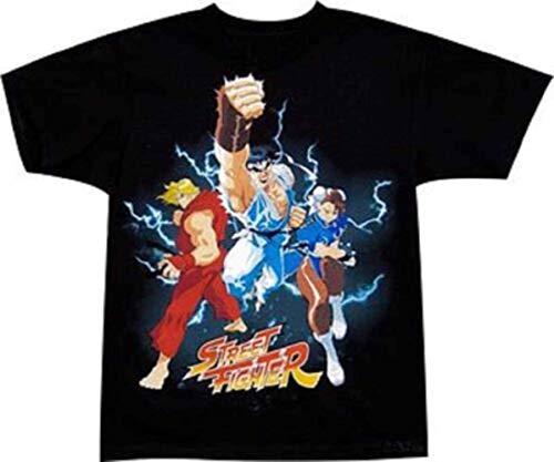 xinfeng Street Fighter Ken RYU Chun-Li Trio Gamer Adult T-Shirt BlackXXL