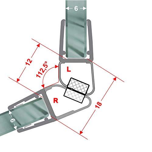 Magnetdichtungen Duschdichtung 112,5° Magnetprofil Eckdusche Steckprofil Duschdichtung Glasdusche 1 Set für 5-8 mm Glasstärke 7,49€/m