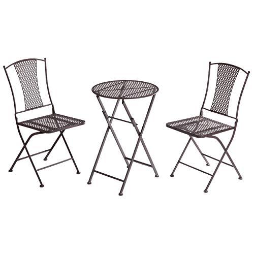 CEPEWA 3-delig Balkon-zitgroep, bistroset, metaal, bruin, inklapbaar, tafel 2 stoelen