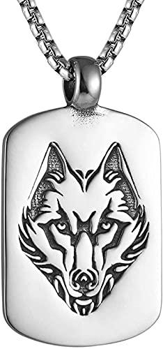 YFGlgy Norse Viking Wolf Head Colgante Colgante con 27.6'Cadena, Retro Lobo Totem Collar, Lobo Vintage Sello De Sello De Sello, Punk Animal Wolf Jewelry Regalo para Hombres Boys