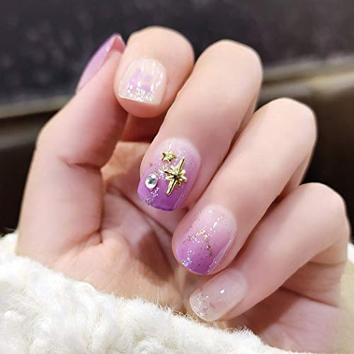 Sethexy Glossy Squoval Short False Nails Purple Gradient Glitter Studs Full Cover Acrylic 24Pcs Fake Nails Tips for Women and Girls