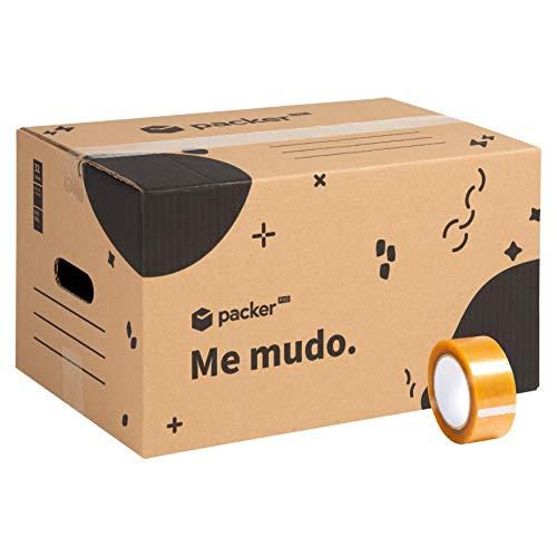 Pack 20 Cajas Carton para Mudanzas y Almacenaje 440x300x250mm Ultra Resistentes con Asas + Cinta Adhesiva, 100% ECO Box | Packer PRO