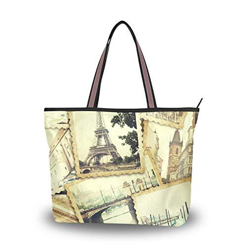 NaiiaN Geldbörse Shopping Handtaschen Einkaufstasche Leichter Gurt Umhängetaschen Eiffelturm Alter Stempel für Frauen Mädchen Damen Student