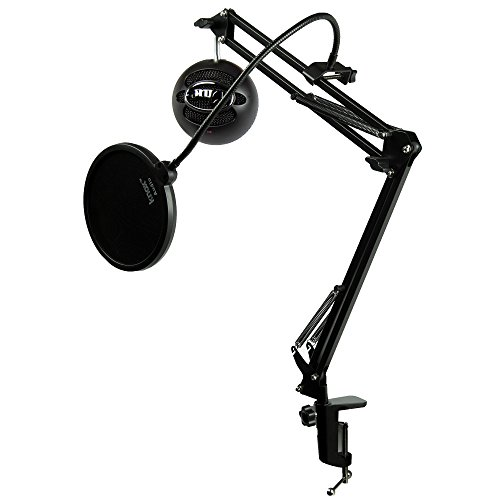 Blue Microphones Snowball iCE Microphone (Black) with Boom Scissor Arm and Pop Filter Bundle (3 Items)