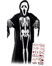 ハロウィン コスプレ 衣装 スケルトン スクリーム ゴースト マスク 死神 がいこつ タトゥシール付き (黒)