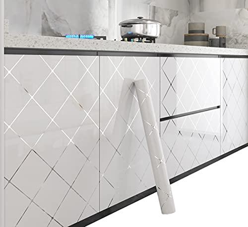 CIEEIN CIEHT Carta da parati autoadesiva Adesivi per mobili in PVC Può rinnovare mobili, decorare armadi Bianco B 60*500cm
