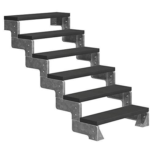 DOLLE Außentreppe Gardentop mit 6 Stufen | Geschosshöhe 108-132 cm │ Trimax® Stufenauflage Anthrazit │ 100 cm | ohne Geländer
