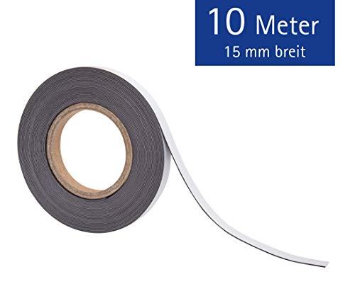 Magnetklebeband, Selbstklebende Vorderseite, Magnetische Rückseite, Schneidbar, Bruchfest, LxB 10m x 1,5 cm, 1 Stück