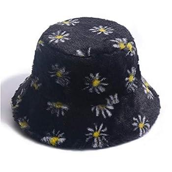 UU BEN Winter Bucket Hat Daisy Furry Faux Fur Fisherman Hats for Women Plush Warm Hats Large Brim Cap Black
