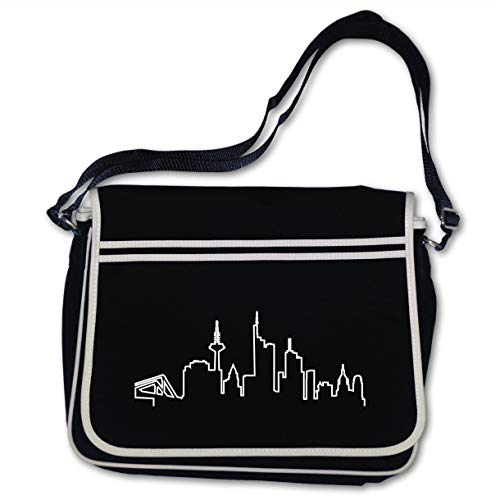Samunshi® Freizeittasche Frankfurt Skyline Silhouette Schultasche Retro Messenger 40x30x10cm schwarz/weiß