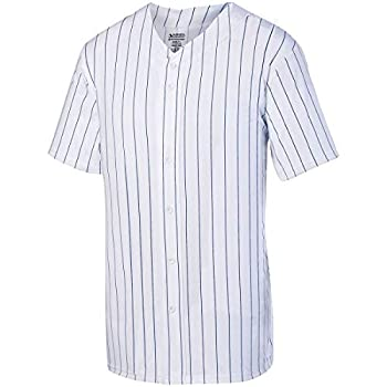 Augusta Sportswear Boys  Pinstripe Full Button Baseball Jersey S White/Navy