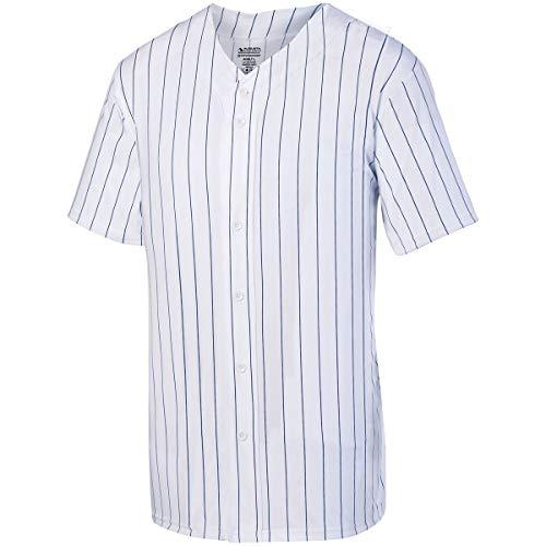 Augusta Sportswear Boys' Pinstripe Full Button Baseball Jersey L White/Navy