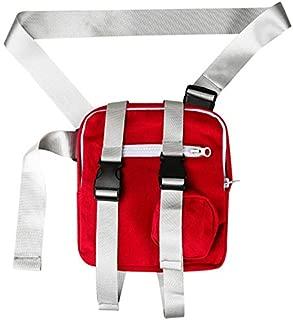 TOOGOO Belt Pockets Men's and Women's Fashion Street Windbreaker Pockets Hips Chest Pockets Small Canvas Shoulder Bag Black