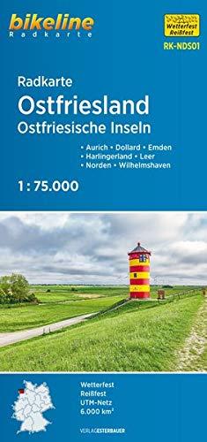 Radkarte Ostfriesland Ostfriesische Inseln 1:75.000: Aurich - Dollard - Emden - Harlingerland - Leer - Norden - Wilhelmshaven, 1:75.000, wetterfest/reißfest, GPS-tauglich mit UTM-Netz: RK-NDS 01
