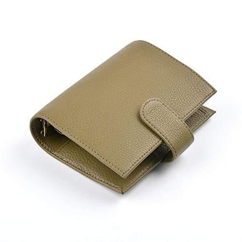 Anillos de cuero genuino Cuaderno A7 (14.3X11.5Cm) Carpeta de tamaño Agenda Organizador Diario Diario Cuaderno de bocetos Planificador Bolsillo grande