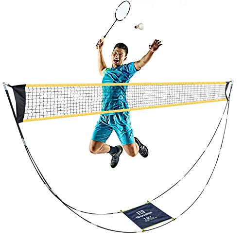 Portable Badminton Net Set, Folding Volleyball Tennis Badminton Net with Stand Carry Bag for Indoor Outdoor Sports, No Tools or Stakes Required