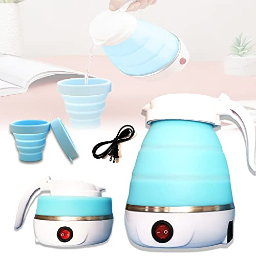 Foldable Electric Kettle Travel Ultrathin Food Grade Silicone Kettle Collapsible Water Boiler for Coffee Tea etc,Easy for Storage with Separable Power Cord and Handle Boil Dry Protection (blue)