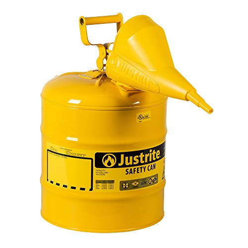 Justrite 7150210 Type I Galvanized Steel Diesel Fuel Safety Can with Funnels Value Packages, 5 Gallon Capacity, Yellow