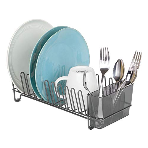 mDesign Compact Modern Kitchen Countertop Sink Dish Drying Rack Removable Cutlery Tray  Drain and Dry Wine Glasses Bowls and Dishes  Metal Wire Drainer in Graphite Gray with Smoke Caddy