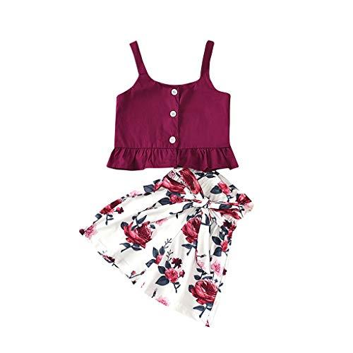 LEXUPE Baby Kids Girls Ärmellose Träger-Tanktops + Shorts Mit Blumendruck, Kleidungsset(Wein,110)