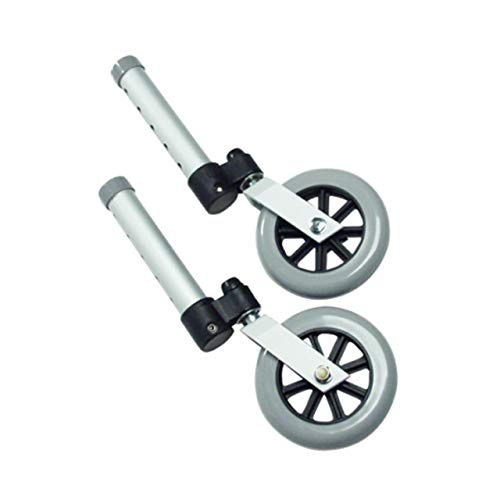 Lumex Swivel Wheels – 360 Degree Medical Rubber Walker Wheel, 5″ Diameter, Adjustable, Pack of 2, 603850A