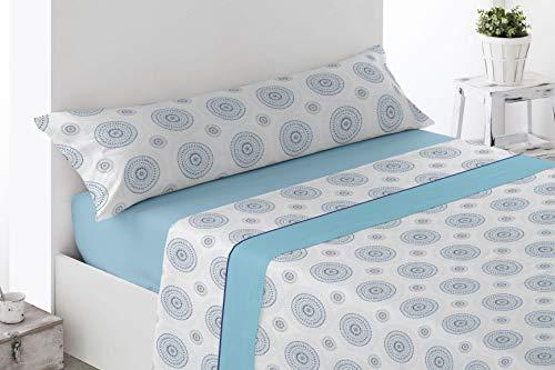 Juego de sábanas Estampadas de Microfibra Transpirable Mod. Laron (Disponible en Varios tamaños y Colores) (Azul, Cama de 135 cm (135_x_190/200 cm))