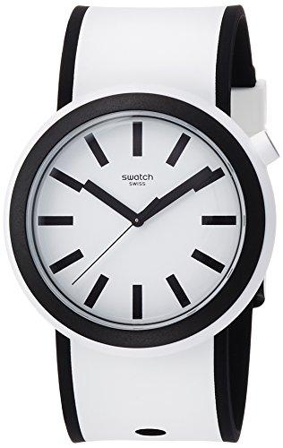 Swatch Unisex Analog Quarz Uhr mit Silikon Armband PNW100