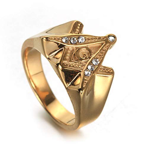 Feinny Men's AG Shape Masonic Solid Ring, Freemason Pattern Stainless Steel Masons Symbol Church Belief Ring Birthday Gift Diamond Jewelry, Party Prom Punk Hip Hop Rock Personality Ring,Gold,10