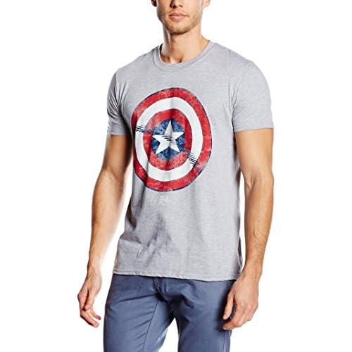 Marvel Captain America Shield T-Shirt, Grigio, M Uomo