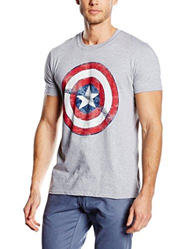 MARVEL Camiseta Manga Corta Captain America Shield Gris XL