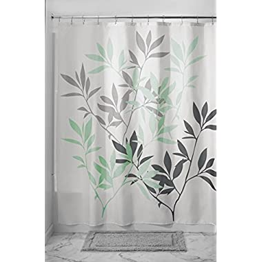 mDesign Leaves Fabric Shower Curtain - 72  x 72 , Gray/Mint Green
