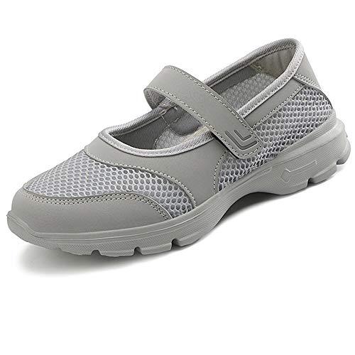 [BaHar] ナースシューズ レディース 安全靴 婦人靴 カジュアルシューズ ウォーキングシューズ 厚底スニーカー 大きいサイズ マジックテープ 看護師 超軽量 通気 歩きやすい 履きやすい 病院22.5cm-26.0cm (グレーA, measurem