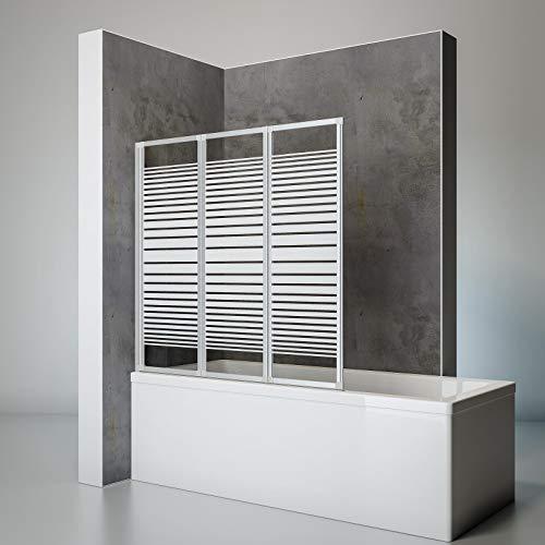Schulte Duschwand Smart inkl, Klebe-Montage, 127 x 121 cm, 3-teilig faltbar, 3 mm Sicherheits-Glas Dekor Querstreifen, alu-natur, Duschabtrennung für Wanne