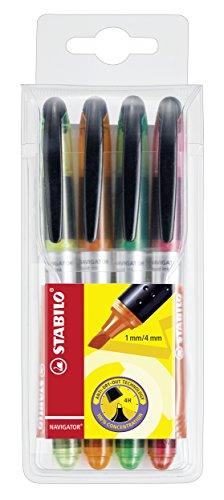 Textmarker - STABILO NAVIGATOR 4er Pack - gelb, orange, grün, pink