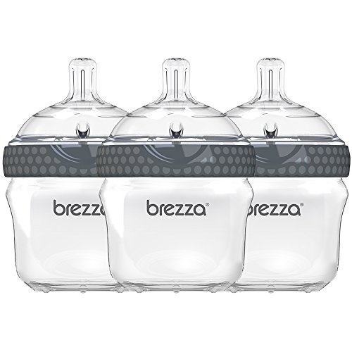 Baby Brezza Two Piece Natural Baby Bottle with Lid - Ergonomic, Wide Neck Design Makes it The Easiest to Clean - Modern Look - Anti-Colic - BPA Free Plastic - Grey - 5oz - 3 Bottles