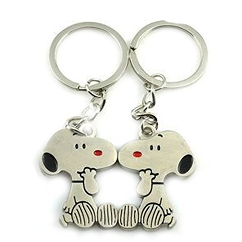 DKX Zinc Alloy New Couples Keychain Valentine's Day Present Gift Snoopy Dog Keyring Set-As The Picture