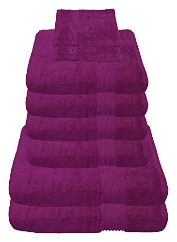 Julie Julsen 8 TLG Handtuchset 2 Badetücher 4 Handtücher + 2 Waschhandschuhe gratis Reine Baumwolle über 30 Farben Fuchsia