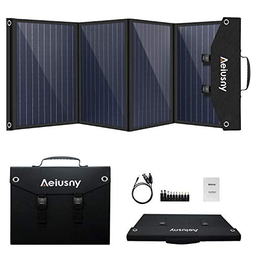 Aeiusny Solar Panel Foldable 120W Monocrystalline Solar Charger Portable for Suaoki/Jackery/Webetop Portable Generator/Goal Zero Yeti Power Station and USB Devices, QC3.0 USB Ports Laptop Tablet
