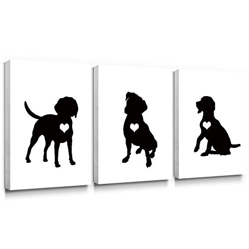 SUMGAR Black and White Wall Art Bedroom 3 Piece Modern Canvas Paintings Animal Prints Dog Pictures Bathroom Artwork Set Nursery Puppy Lover Pet Gifts Home Decorations,12x16 inch