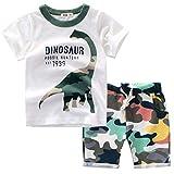 Bekleidungsset Sommer Babykleidung Kinder Baby Jungen Cartoon Tier T-Shirt Tops +Shorts Hosen Outfits Set Kleidungsset Neugeborenen Baby Kleidung Set (130, Weiß)