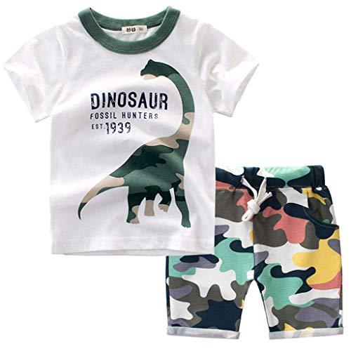 Bekleidungsset Sommer Babykleidung Kinder Baby Jungen Cartoon Tier T-Shirt Tops +Shorts Hosen Outfits Set Kleidungsset Neugeborenen Baby Kleidung Set (100, Weiß)