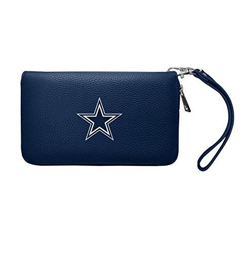 "Littlearth Women's NFL Dallas Cowboys Pebble Faux Leather Zip Organizer Wallet, 4"" x 7.5"" x 1"", Team Color"