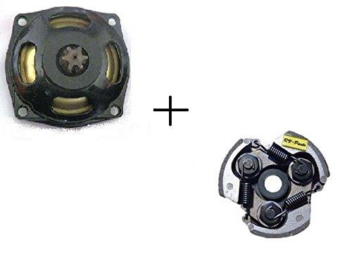 RV-Parts Kupplungsglocke + Kupplung 47/49 ccm - Set - 6 Zähne 25H- Pocketbike - Rocketbike 49 ccm Dirtbike Kinder Motorrad mini Quad 25H