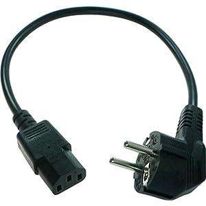 40 cm kurzes Stromkabel/Netzkabel für Kaltgeräte. Schutzkontaktstecker 90° (Typ E+F) – Kaltgerätebuchse gerade.