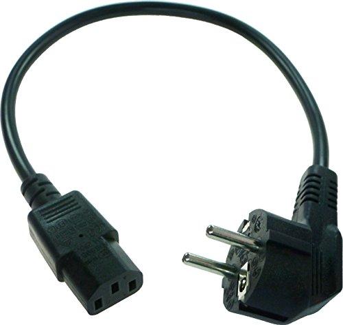 40 cm kurzes Stromkabel/Netzkabel für Kaltgeräte. Schutzkontaktstecker 90° (Typ E+F) - Kaltgerätebuchse gerade.